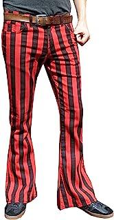 Fuzzdandy Uomo Pantaloni a Zampa Rosso & Nero a Righe Pantaloni Jeans