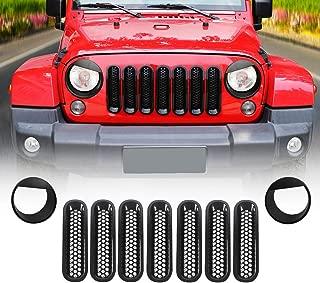 JeCar Front Grille Inserts & Bezels Headlight Trim Cover for Jeep Wrangler JK JKU 2007-2017