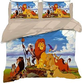 Leezeshaw Juego de funda de edredón para niños con diseño de rey león 3D de Disney Simba Mufasa con cierre de cremallera (sin edredón)