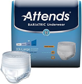 Attends Bariatric Protective Underwear with DermaDry Technology for Adult Incontinence Care, XX-Large, Unisex, 48 Count