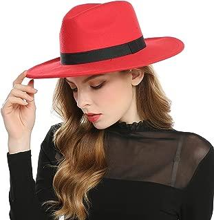 Haimeikang Women's Faux Wool Felt Fedora Hat Wide Brim Derby Church Party Panama Winter Hats