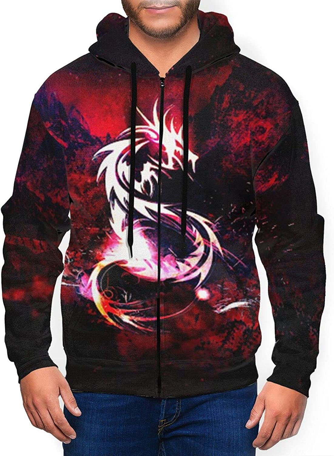 Mens Dargon 3d Zipper Hoodies, Novelty Graphic Sweater shirts Colorful Pattern for Autumn,Winter Casual