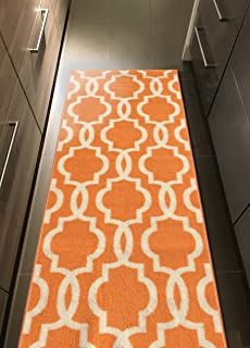 "Kapaqua Rubber Backed Fancy Moroccan Runner Non-Slip Rug, 21"" W x 60"" L, Trellis Orange & Ivory"