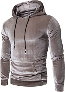 Fanybin Men's Fashion Autumn Winter Warm Pure Gold Velvet Hoodie Blouse Drawstring Hooded Slim Fit Sweatshirt Top