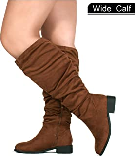 RF ROOM OF FASHION Women's Wide Calf Slouchy Pull On Low Block Heel Knee High Boots
