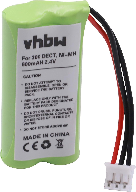 vhbw NiMH batería 600mAh (2.4V) para teléfono Fijo inalámbrico Philips Xalio 300, 300 DECT por 2HR-AAAU, H-AAA600X2, H-AAA500X2.