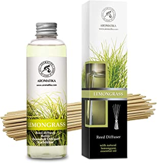 Room Fragrance Lemongrass 100ml with Rattan Sticks and Reed Diffuser Refill Lemongrass 200ml - Natural Essential Oil - Int...