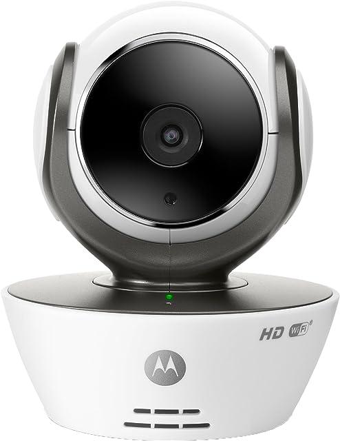 Motorola Focus 85 - Cámara de Vigilancia Inalámbrica HD Wifi Interior Fácil instalación Detección Movimiento y Sonido Visión Nocturna por Infrarrojos Temperatura  Alarma Micrófono Incorporado Control Remoto para Panorámica Inclinación y Zoom Color Blanco