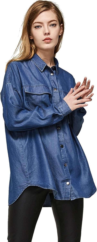 Escalier Women's Denim Shirt Chambray Tencel Long Sleeve Button Down Shirts Oversize Blouse