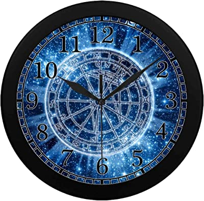 INTERESTPRINT Space Zodiac Wheel and Planets Wall Clock Plastic Cover Non-Ticking