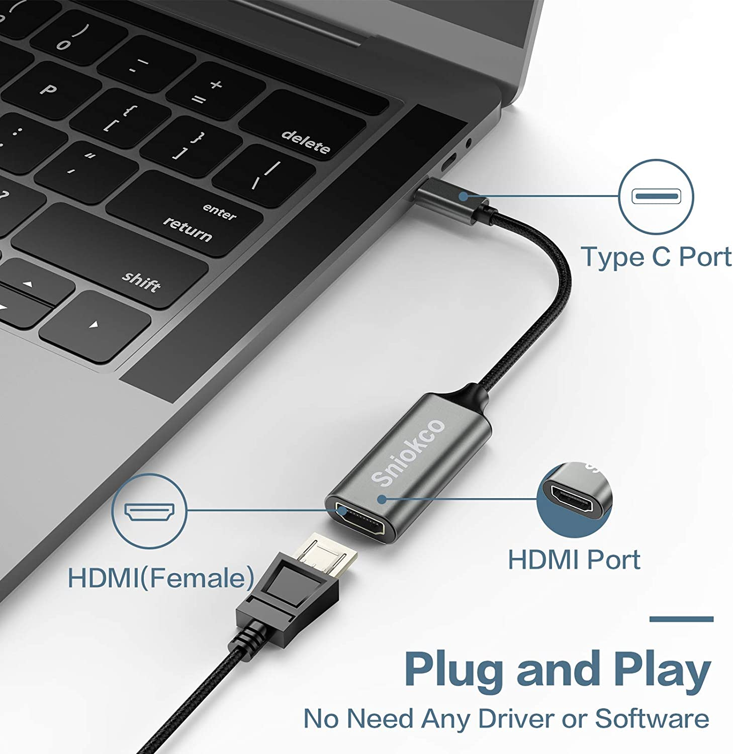 for Home Office Compatible with MacBook Pro Sniokco Type-C to HDMI Adapter XPS Thunderbolt 3 Pad Pro Pixelbook MacBook Air USB C to HDMI Adapter Surface Pro Pad Air G,alaxy S10 S9+ and More