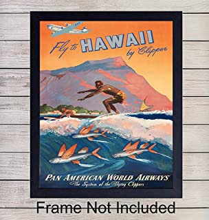 Hawaii Poster Vintage Wall Art Print - 8x10 Unframed Photo - Makes a Great Gift for Travelers- Chic Home Decor