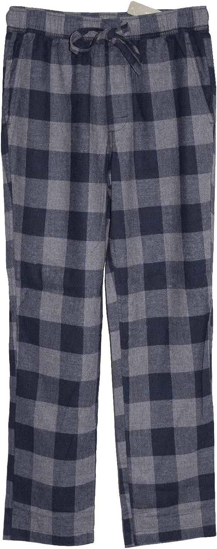J.CREW pajama pants L flannel navy blue green white fleece nr check plaid lounge