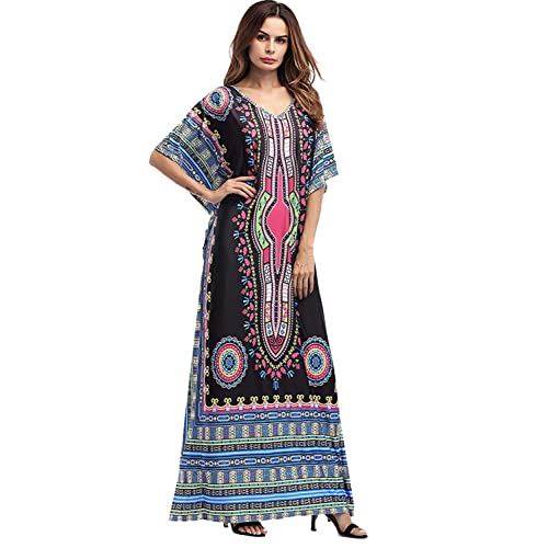 38512ad735 Amoretu Womens Caftan Casual V-Neck African Print Bat Sleeves Loose Maxi  Dress