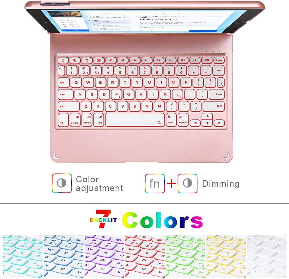 10.2 inch iPad Case with Keyboard,iPad 8th Generation Keyboard case 2020&iPad 7th Generation,10 Color Backlit-360 Rotatable-BT 5.0 Keyboard Case for iPad 7th/8th,Auto Sleep/Wake Case iPad 8 Keyboard