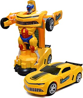 Toysery Transforming Robot Car - Bumblebee Designed One Button Deformation Toy for Kids - Transformers Kid Car Robot Toy with Colorful Lights - Ideal Choice for Gift - for Age 3 Years and Above