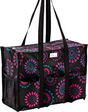 Pursetti Zip-Top Organizing Utility Tote Bag with Multiple Exterior & Interior Pockets for Working Women, Nurses, Teachers and Soccer Moms (Purple Circle)