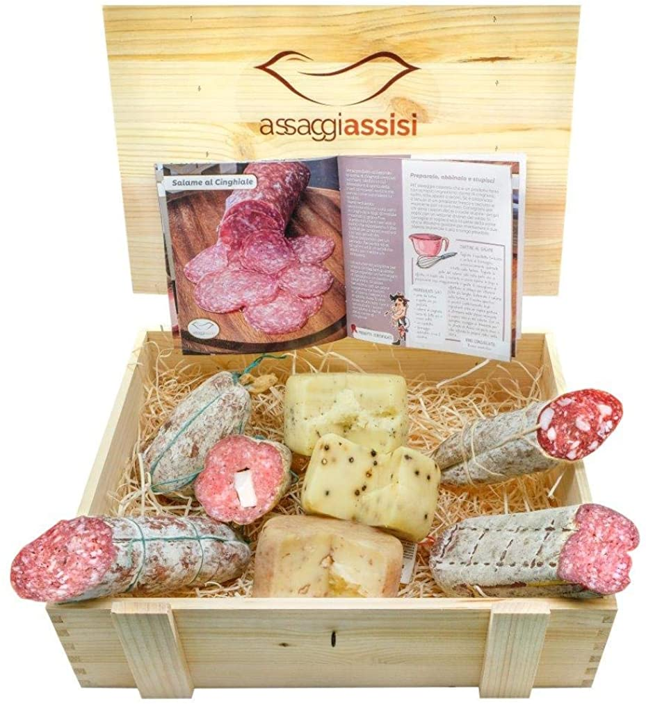 Cesto pasquale gastronomico,in scatola di legno,salumi e formaggi ,prodotti tipici dell` umbria