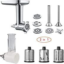 2 in 1 -Food Grinder & Slicer Shredder Attachment Pack for KitchenAid Stand mixer, with Sausage Filler Tube, Work as Food Processor