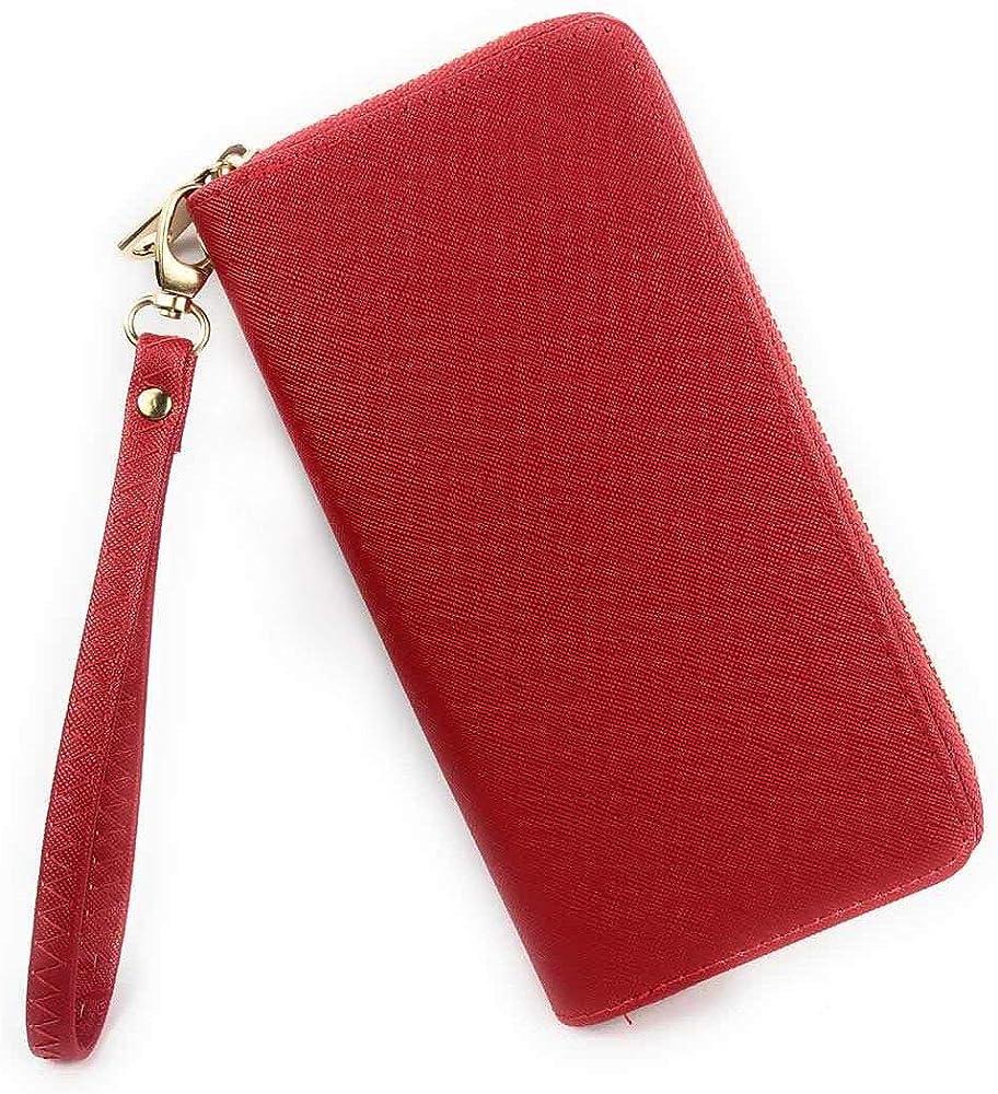 Eliox, portafoglio da donna, con portamonete, porta carte di credito, in pelle sintetica, rosso