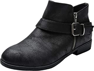 fc4e5d78b6f81 Luoika Women's Wide Width Ankle Booties - Classic Side Zipper Low Stacked  Heel Round Toe Suede