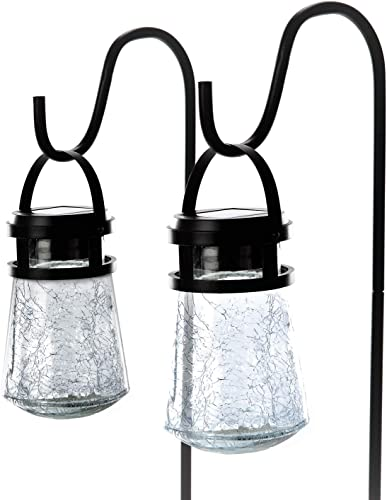 high quality Home Zone Security online sale Solar Pathway Lights - Outdoor 3000K Decorative Large Crackle online Glass Garden LED Lights with No Wiring Required (2-Pack) sale