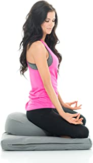 Awaken Meditation Round Zafu Zabuton Yoga Mat & Cushion Set Hand/Machine Washable Filled with Natural Cotton & Buckwheat - 100% Cotton