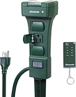 DEWENWILS Outdoor Power Stake Timer with Remote, Waterproof Power Strip Timer, 6 Grounded Outlets, 6 ft Extension Cord, 100 ft Remote Control, Yard Stake Timer for Christmas Lights,15A 1/2HP UL Listed