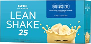 GNC Total Lean Lean Shake 25 to Go Bottles – Banana Cream, 12 Pack, Low-Carb..