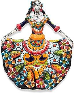 Catrina Bailarina con Vestido Típico Mexicano de Talavera - Figura Mexicana Multicolor del día de los muertos - Cerámica m...