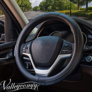 Valleycomfy Steering Wheel Covers Universal 15 inch - Genuine Leather, Breathable, Anti Slip & Odor Free (Black with Black Lines)
