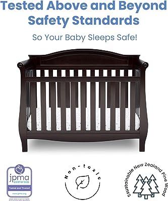 Delta Children Lancaster 4-in-1 Convertible Baby Crib & Twinkle Stars Waterproof Fiber Core Crib and Toddler Mattress, Dark Chocolate