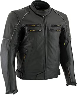 Vulcan VNE-98431 'Ace' Men's Black Leather Armored Motorcycle Jacket - X-Large