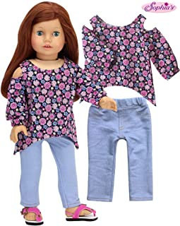Sophia's 2 Piece Outfit for 18 in Dolls | Floral Cold Shoulder Blouse with Light Blue Jeggings