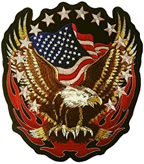 1pcs Large Patriotic Eagle American Flags Embroidered Iron On Patch(7.1x7.5 inch)
