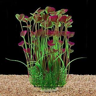 "ixaer Artificial Aquarium Plants Large Plastic Fish Tank Plants Decoration Ornament Heart-Shaped(15.7"" x 7"") (Wine red)"