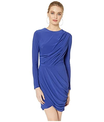 ASTR the Label Long Sleeve Draped Dress (Cobalt) Women