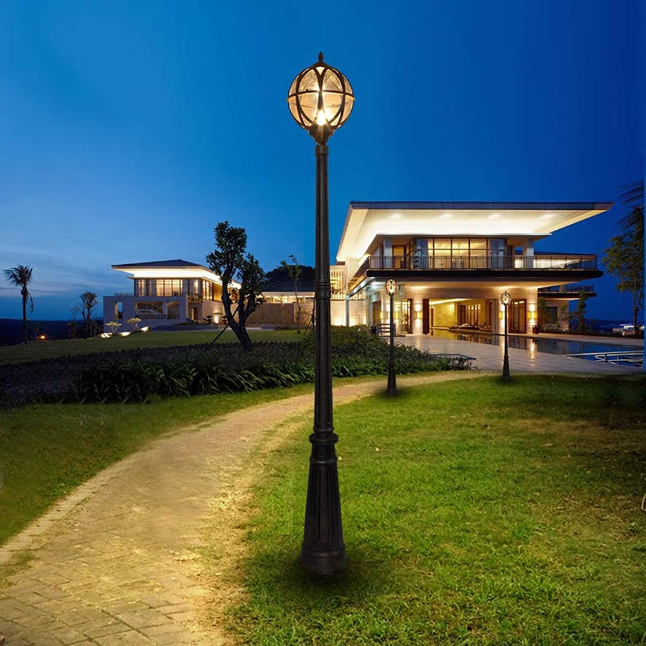 Rishx Outdoor LED Street Light Post Light Villa Waterproof Landscape Pole Lamp European Rainproof Garden Road Lights Community High Pole Lantern Column Lamp (Size : Height 2.4m)