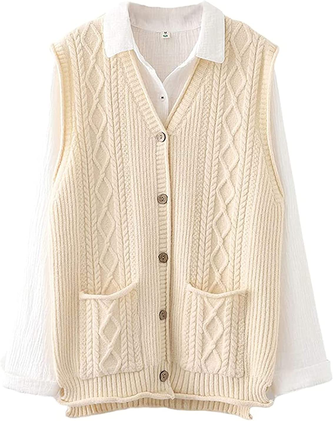 Women's Cable Knit Sweater Vest V Button Sleeveless New sales Neck Dealing full price reduction Down Ca