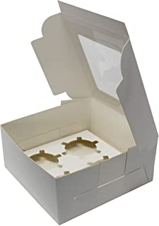 """Premium Bakery Box with Window and Insert for 4 Cupcakes or Muffins; Pastries, Baked Goods, Treats. Set of 13 White Cardboard Boxes -Take Out Box Containers. Perfect for Any Baker. 6"""" x 6"""" x 3"""