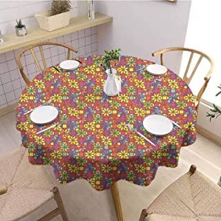 Luoiaax Colorful 3D Printed Round Tablecloth Stained Glass Style Pattern with Flower Motifs Geometrical Star Shapes Mosaic Tile Desktop Protection pad D67 Inch Round Multicolor