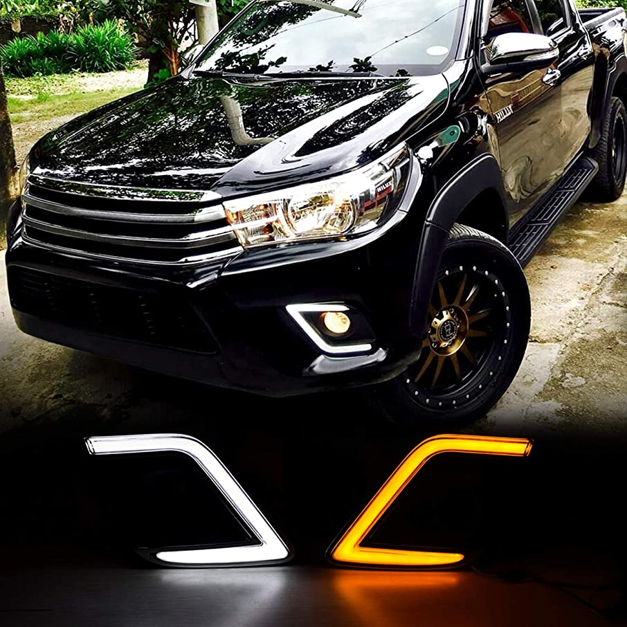 Allinoneparts For Toyota Hilux Revo 2015-2017 C Type OEM Replacement Fog light Cover LED DRL Daytime Running Lights With Yellow Turn Signal Lights Driving Fog Lamps Kit