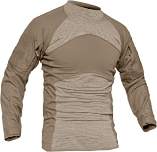 Slim Fit Cotton Long Sleeve Casual Tactical Military Combat Shirt with Pockets