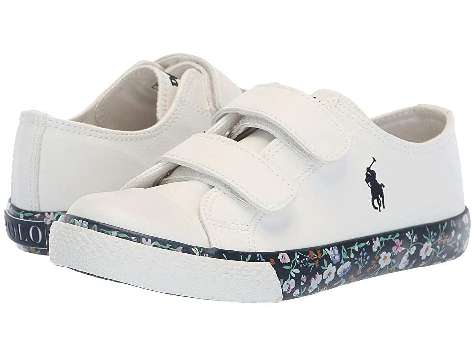 Polo Ralph Lauren Kids Slone EZ (Little Kid) (White Tumbled/Navy/Multi Floral/Navy Pony) Girl