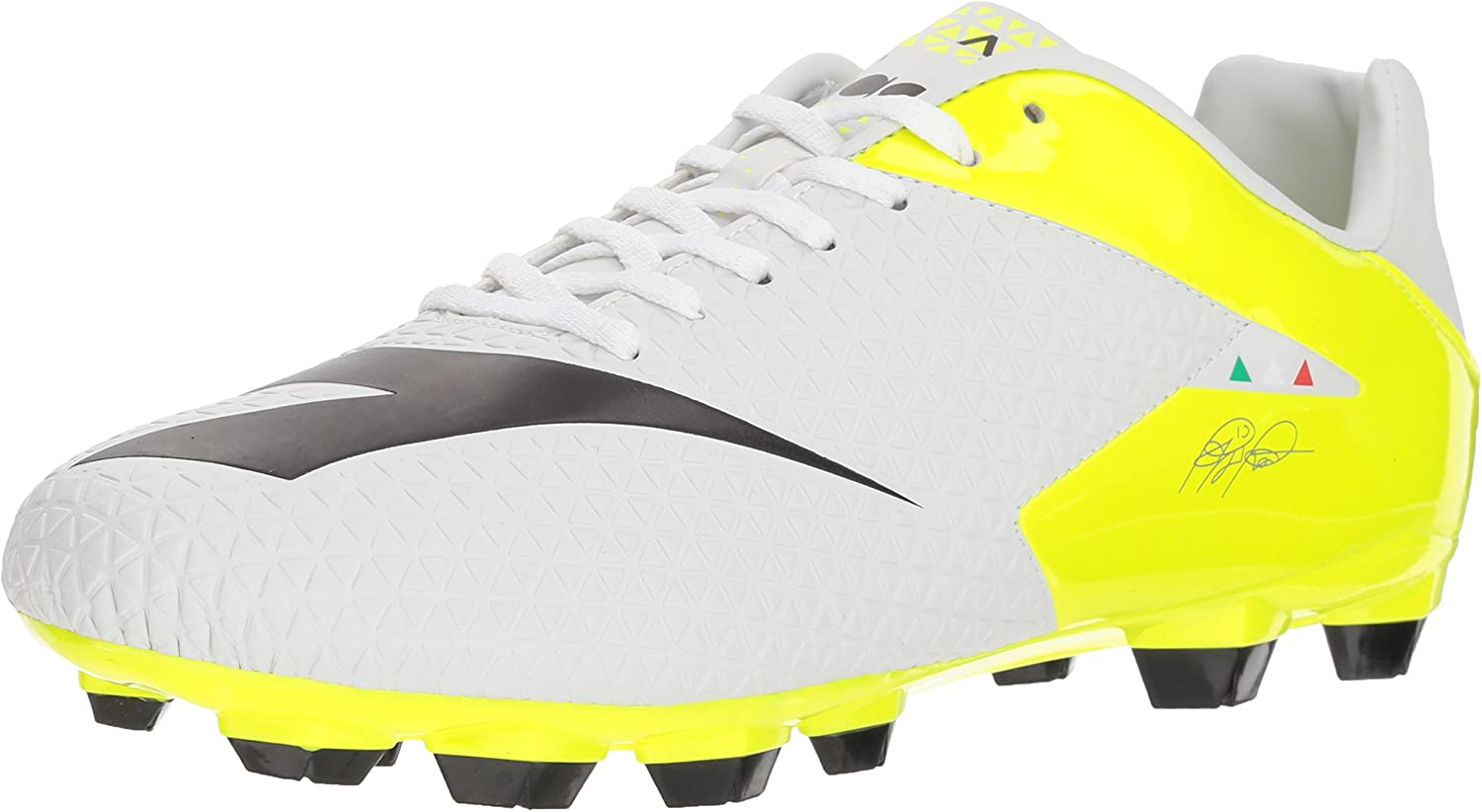 Diadora Soccer Men's MW-Tech RB RLPU, White Black Fluo Yellow, 6.5 Medium US