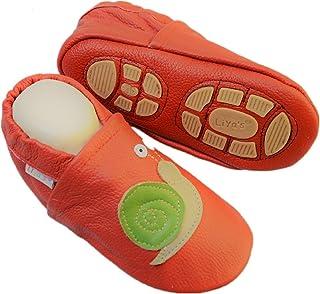 Liya's Chaussons en cuir avec semelle en caoutchouc partielle - #670 Escargot rouge
