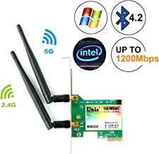 Ubit Gigabit AC 1200Mbps Bluetooth4.2 Wireless Network Card, 802.11 AC Dual-Band 1167Mbps WiFi Card with Bluetooth 4.2, Dual-Band 5Ghz-867Mbps/2.4Ghz-300Mbps Network Card for PC(WIE8260)