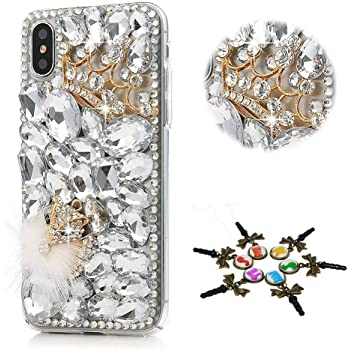 STENES Bling Case Compatible with iPhone 11 - Stylish - 3D Handmade [Sparkle Series] Bling Crown Fox Design Cover Compatible with iPhone 11 6.1 Inch 2019 - White