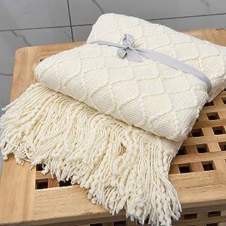 Adory Sweety Couverture Tricotée Couvre-lit Décorative Texturé Canapé Jeter Canapé Couverture Gland Tricot Plaids Frange S...