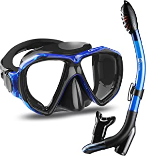 Dorlle Snorkel Set Diving Mask with Anti-Fog Tempered Glass, Anti-Leak Dry Top Snorkel Mask, Easy Breathing and Adjustable...